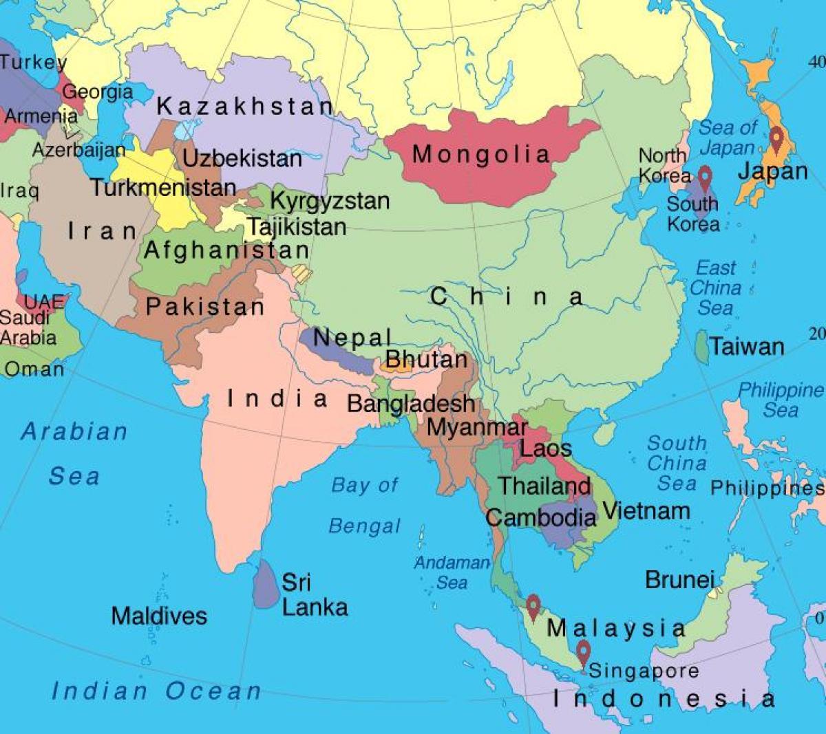 mapa azije Karta Singapura, u Aziji   Singapur karta Azije (Republika Singapur) mapa azije